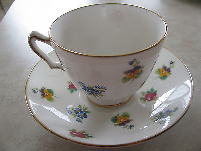 Crown Staffordshire  Fine Bone China Tea Cup Saucer set Muliti Floral Rose Pansy