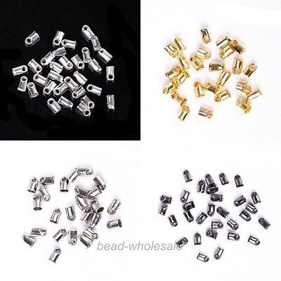 100Pcs Hot&Sale Crimp Tube Tip Caps Metal End Beads for DIY Jewelry 5x3.5mm