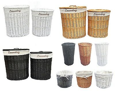 Brown Black White Oval Wicker Laundry Basket With Lid & Removable Cotton Lining