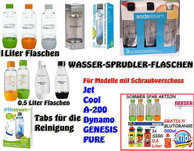SODA CLUB Cool PET Flasche Sprudlerflasche  0,5+1 Liter  Reinigungstabs SIGG