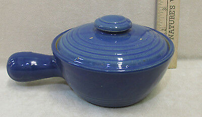 Vintage Blue Stoneware Covered Individual Casserole Soup Bowl w/ Handle USA