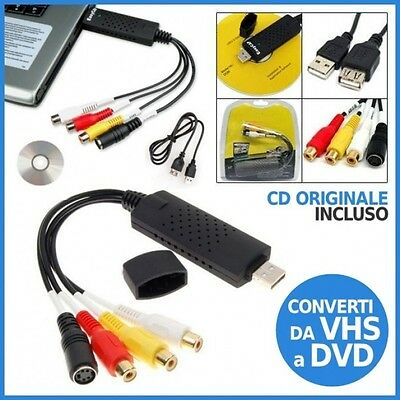 Scheda Acquisizione Audio Video Trasferisci Video Vhs Capture Usb Pc Notebook