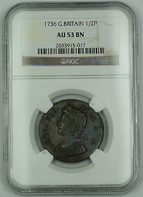 1736 Great Britain 1/2 Penny Coin George II NGC AU 53 BN Brown AKR