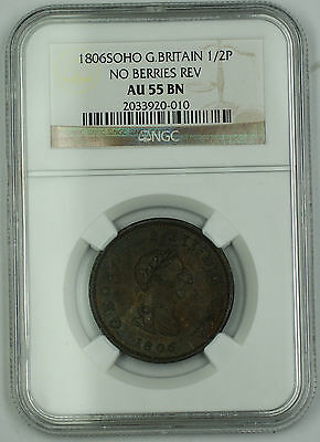 1806 SOHO G Britain 1/2 Penny Coin George III No Berries Rev NGC AU 55 BN AKR