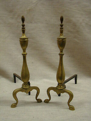 Nice Antique Pair of Traditional Spire Top on Baluster Brass Fireplace Andirons.