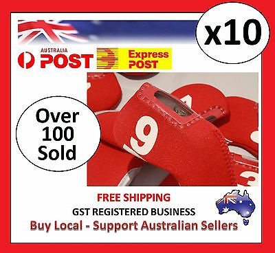 10 x RED GOLF IRON HEAD COVERS with Numbers Both Side and Display Window