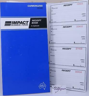 5 x Impact 4 Up Triplicate Receipt Book Carbonless CS430
