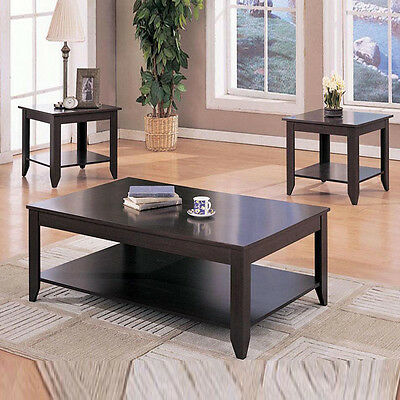 MODERN Tapered Feet Shelves 3 PC Cappuccino Wood Occasional Coffee End Table Set