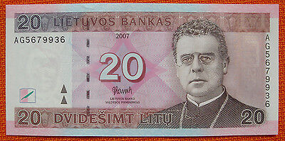 Lithuania Lietuva 20 Litu UNCIRCULATED 2007 Nr 3398