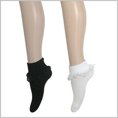 Lace Frill Socks (Short & Knee-high socks) - Kids Girls Ladies 9-12 13-3, 2-8