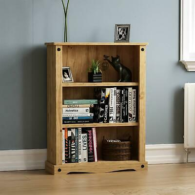 Corona Low Bookcase Distressed Wood Mexican Pine New Free Delivery