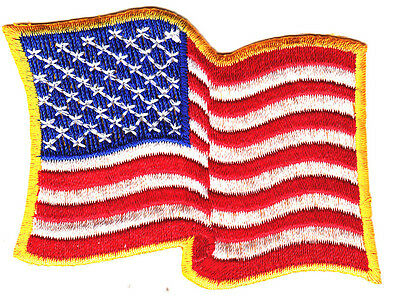 AMERICAN FLAG WAVING, GOLD BORDER/IRON ON EMBROIDERED PATCH, USA,Patriotic,Biker
