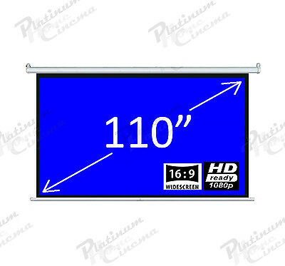 "New 110"" Electric Motorized HD Projection Screen Widescreen 16:9 Fiber Glass"
