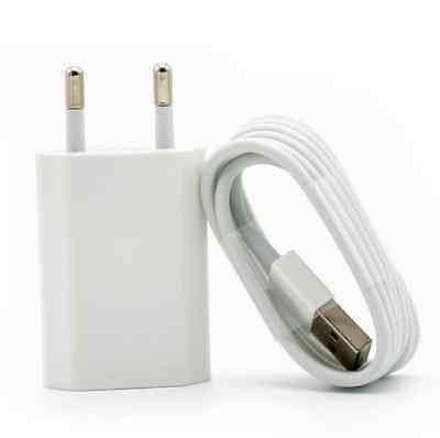 European EU EURO Wall Power Charger Plug for iPhone 6S 7 PLUS SE 5S & USB Cable