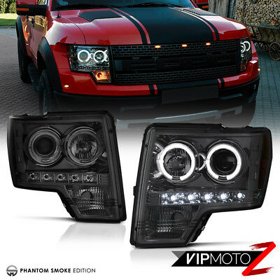 SMOKE 2009 2010 2011 2012 2013 2014 Ford F150 Halo Projector Headlights LED PAIR