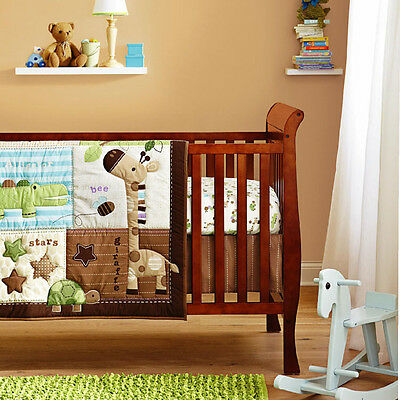 New Baby Boys 6 Pieces Cotton Nursery Bedding Crib Cot Sets-- Giraffe Animal Zoo