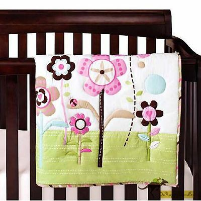 New Baby Girls 4 Pieces Cotton Nursery Bedding Crib Cot Sets--Flowers
