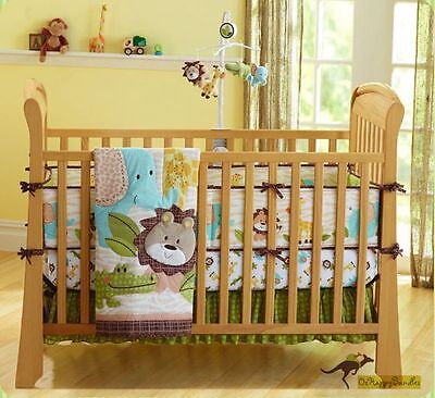 New Baby Boys 7 Pieces Cotton Nursery Bedding Crib Cot Sets- Brown Jungle Animal