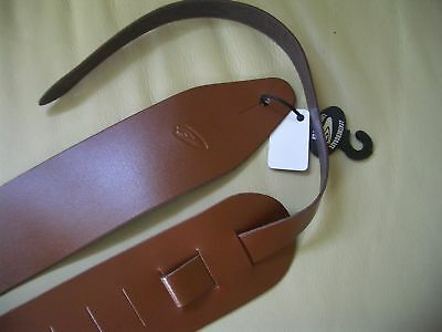 """Brown Uk Made 3"""" Wide Real Leather Electric Or Acoustic Adjustable Guitar Strap"""