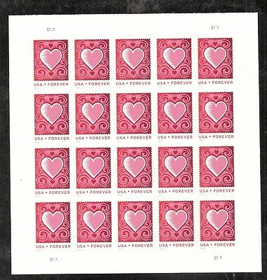 2014 #4847 Love Cut Paper Heart Pane of 20 Without Die Cuts MNH