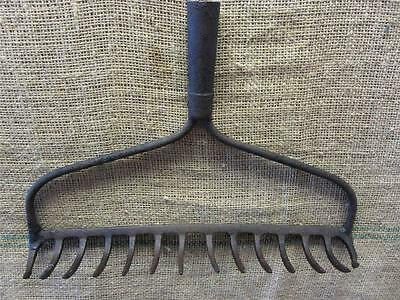 Vintage Iron Garden Rake > Coat Rack Kitchen Antique Farm Old Tool Tools 8854