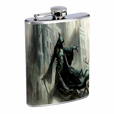 The Reaper Flask D4 8 oz Stainless Steel Scary Horror Skull Death Frightening