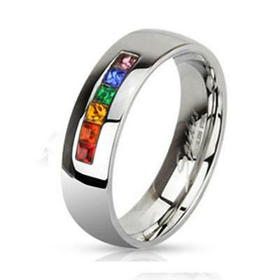 6mm Stainless Steel Gay Lesbian Pride Rainbow Wedding Band Promise Ring  R533