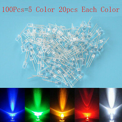 100pcs 3mm White Red Blue Green Yellow LED Light Bulb Emitting Diode Lamp