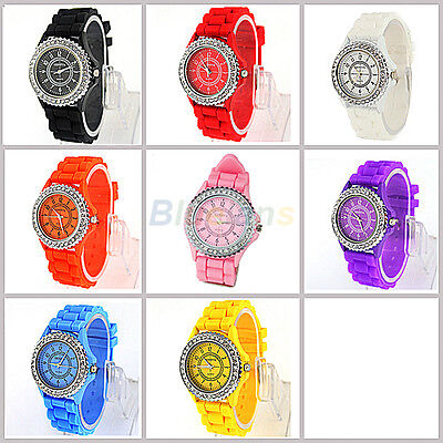 Geneva Fashion Crystal Jelly Gel Silicon Girl Women's Quartz Wrist Watch B8BU