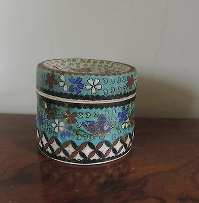 Antique Chinese Porcelain Jar & Cover Box Looks Like Cloisonne Marked