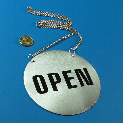 Stainless Steel Door Sign - Open and Closed 130(Ø)mm. With Hanging Chain