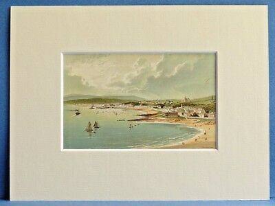 DUNOON RIVER CLYDE SUPERB QUALITY ANTIQUE MOUNTED CHROMO PRINT 8X6 c1890 RARE