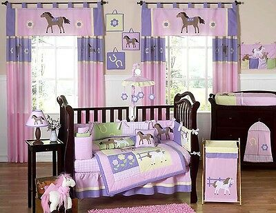 UNIQUE DESIGNER PINK WESTERN HORSE PONY 9pc BABY GIRL CRIB BEDDING COMFORTER SET