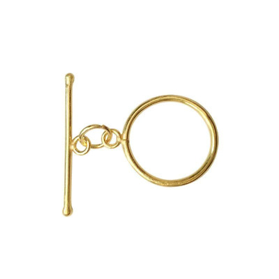 18K Gold Overlay Shiny Simple Round Toggle TG-156