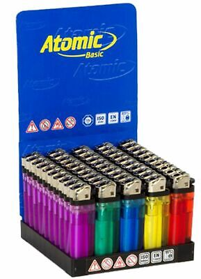 50 Accendini Atomic Colorati Pietrina Box Scatolo Intero