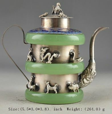 China Superb Jade Old Handwork Armored Zodiac Exorcist Collectable Tea Pot