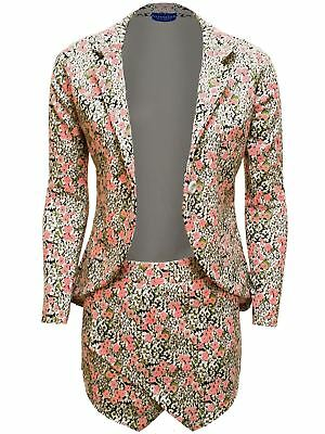 Women's Celeb Inspired Sam Faiers Ladies Floral Print Two Piece Short Blazer Set