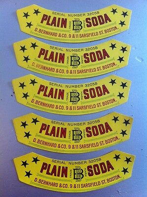 Lot of 50 Antique Unused Plain Soda Bottle Labels Circa 1900 Boston MA Bernhard