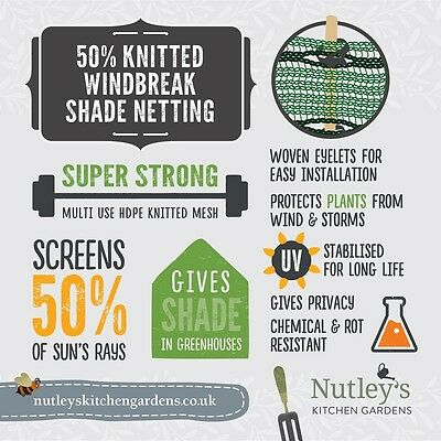 Nutley's 1.5m wide Horticultural Windbreak Shade Netting 50% various lengths