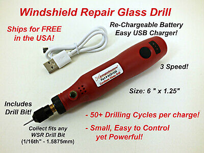 Glass Drill 12Volt Variable Speed - Auto Glass Windshield Chip Repair Resin Kit