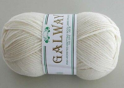 Pure 100 Wool Yarn Galway Worsted Weight 100g #08 WHITE