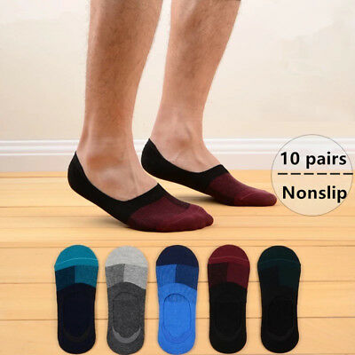 SALE 10 Pairs Men's Invisible No Show Nonslip Loafer Boat Low Cut Cotton Socks