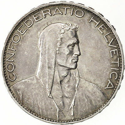 [#73334] SWITZERLAND, 5 Francs, 1925, Bern, KM #38, AU(50-53), Silver, 37, 24.94