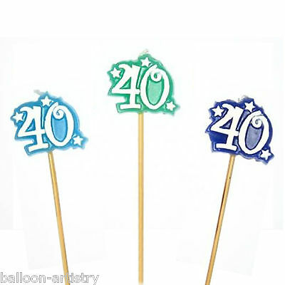 3 Happy 40th Birthday Party Number 40 Blue Green Mini Pick Mini Stick Candles