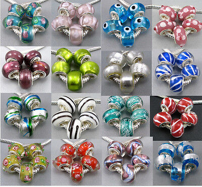 5Pcs Lovely Core Murano Glass Beads 5MM Fit Europe Charms Bracelet CY484