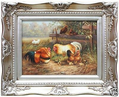 Painting,  Oil on Canvas With Frame, Chicken
