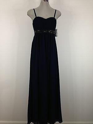 Jessica Simpson NWT Stunning Navy Evening Dress with Black Crystal beads
