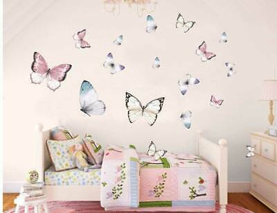 Set of 24 Butterflies Wall Sticker Kids Nursery Decor Girls Decal Variable Size