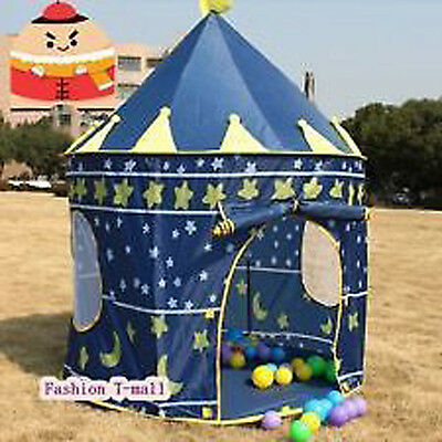 Childrens Blue Pop Up Steel Castle Toy Play Tent Den Play House Xmas Gift Child