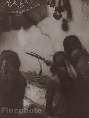 1900/72 Photo Gravure NATIVE AMERICAN INDIAN Hopi Snakes Art EDWARD CURTIS 11x14